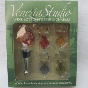 Venezia Studio Wine Bottle Stopper & Glass Charms